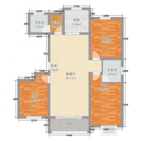 凯隆御景3室2厅2卫1厨129.00㎡户型图