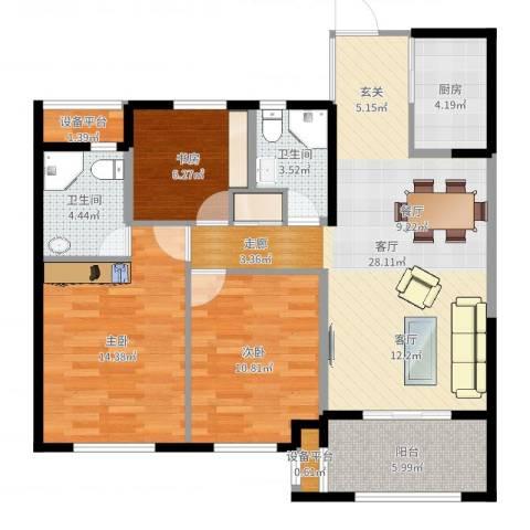德信・湖滨1号3室1厅2卫1厨100.00㎡户型图