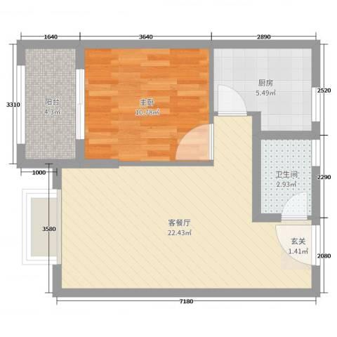 常绿林溪谷1室2厅1卫1厨57.00㎡户型图