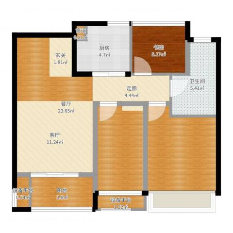 朗诗未来街区1室1厅1卫1厨74.00㎡户型图