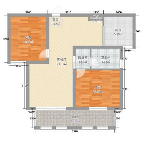 向阳秀水佳苑2室2厅1卫1厨80.00㎡户型图