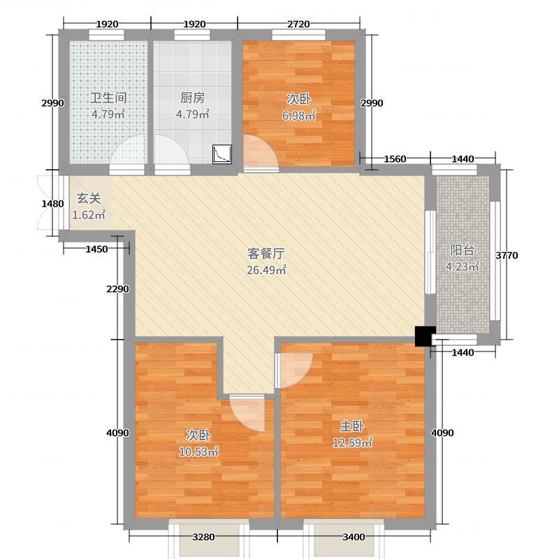 三盛・箐华里(颐景华府)88.00㎡E1户型3室3厅1卫1厨