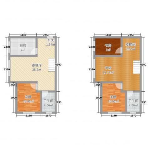 沿江国际3室2厅2卫1厨93.60㎡户型图