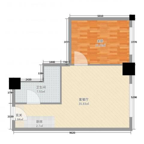 时代国际1室2厅1卫0厨76.00㎡户型图