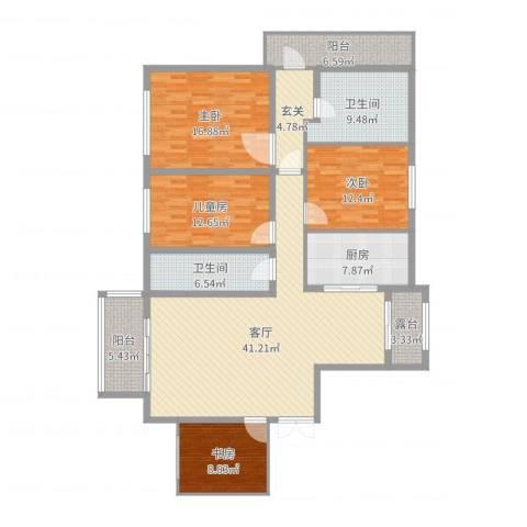 新地阿尔法27栋4室1厅2卫1厨170.00㎡户型图