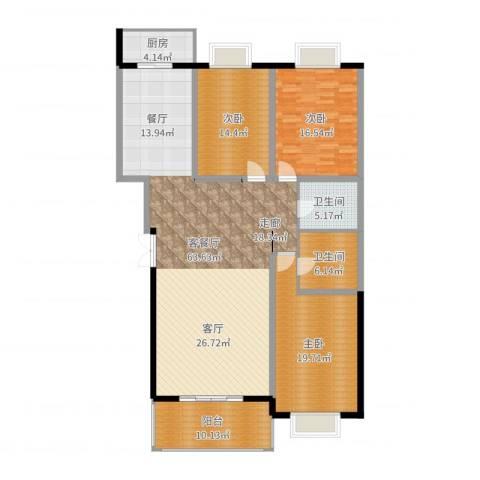 汤泉逸墅3室2厅2卫1厨175.00㎡户型图