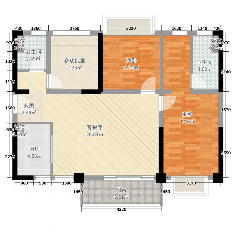 伦教碧桂园103.00㎡3/4座02/05单位户型3室3厅2卫1厨