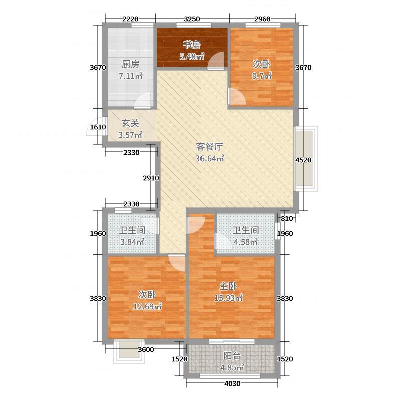 翡翠华庭126.00㎡E户型4室4厅2卫1厨