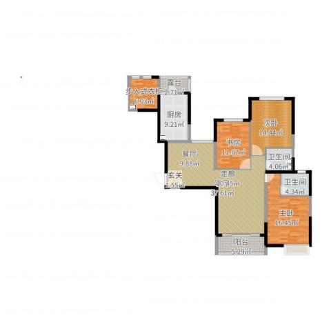恒大御景湾3室1厅2卫1厨154.00㎡户型图