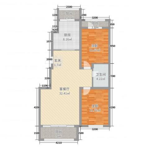 宏运・凤凰新城二期2室2厅1卫1厨103.00㎡户型图