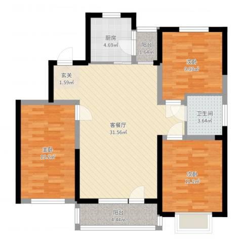 中国铁建梧桐苑3室2厅1卫1厨100.00㎡户型图