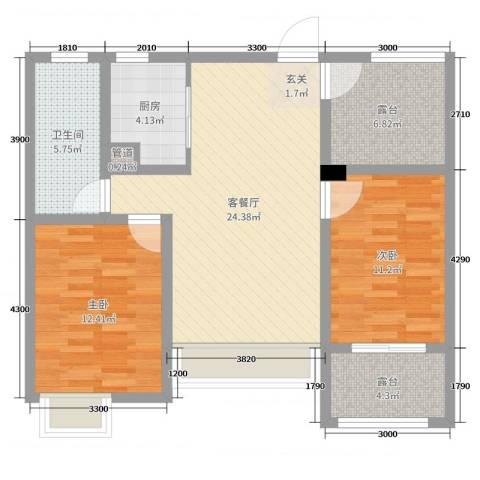 首创悦府2室2厅1卫1厨85.00㎡户型图