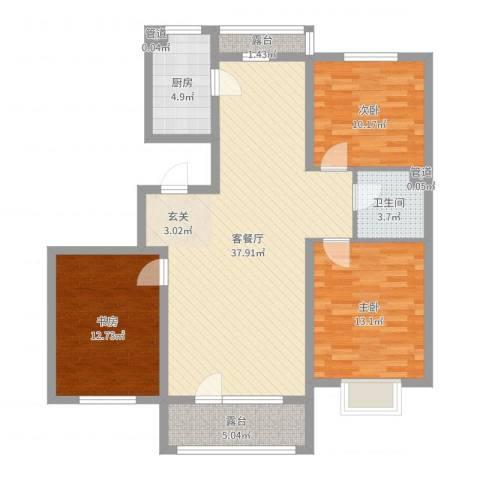 中国铁建梧桐苑3室2厅1卫1厨111.00㎡户型图