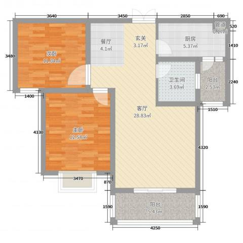 左岸国际2室1厅1卫1厨87.00㎡户型图