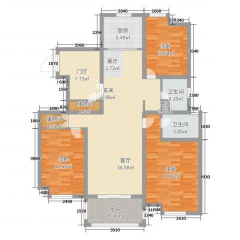 海陵首府3室1厅2卫1厨130.00㎡户型图