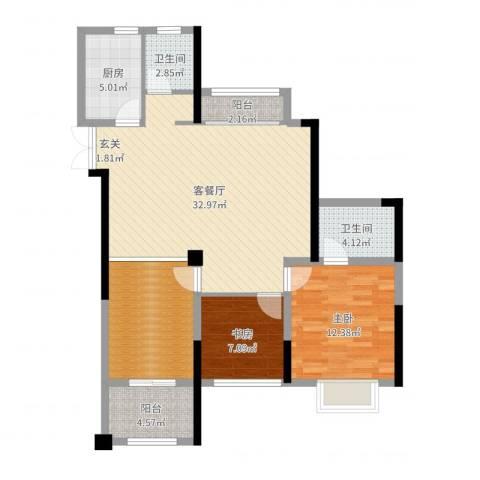 绿洲白马公馆2室2厅2卫1厨102.00㎡户型图