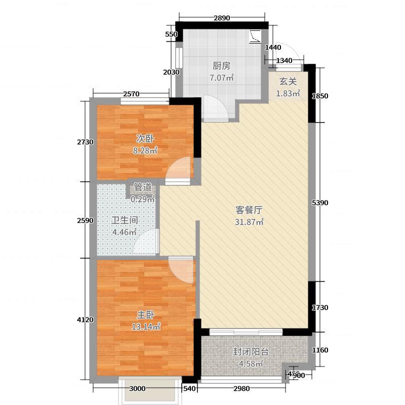 恒大丁香郡87.20㎡7、9#3单元3门户型2室2厅1卫1厨