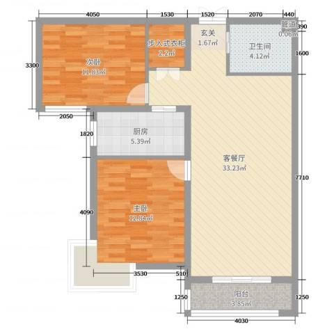 尚品林溪2室2厅1卫1厨92.00㎡户型图