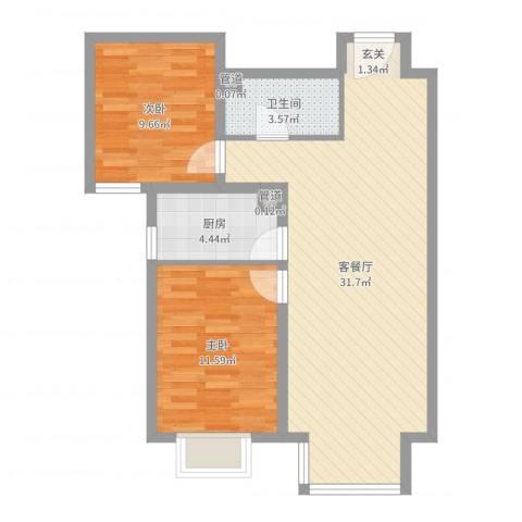 夏威夷・蓝湾2室2厅1卫1厨76.00㎡户型图