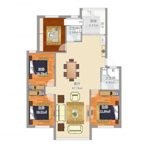 东城水岸4室1厅2卫1厨133.00㎡户型图