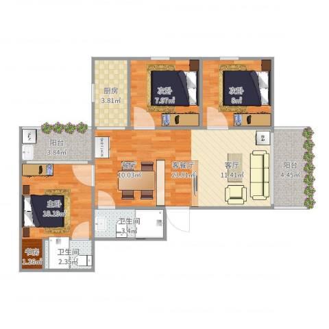 荔富居3室2厅2卫1厨85.00㎡户型图