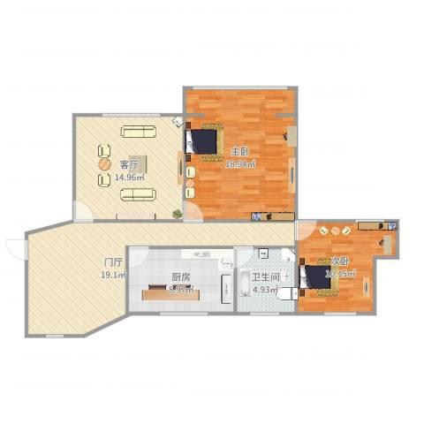 通华大楼2室1厅1卫1厨96.00㎡户型图