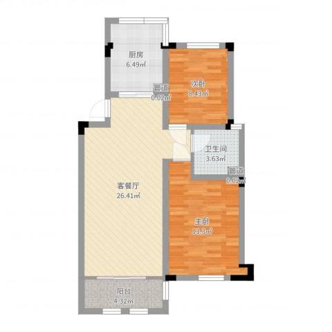 加州洋房2室2厅1卫1厨78.00㎡户型图