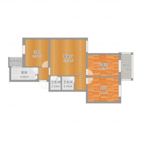万寿路3室2厅2卫1厨85.00㎡户型图