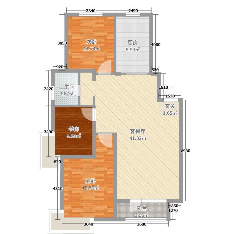 怀来兰顿庄园117.13㎡D1户型3室3厅1卫1厨