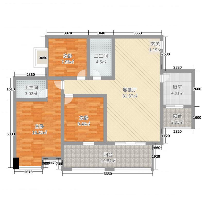 金泉秀岭113.76㎡D1户型3室3厅2卫1厨