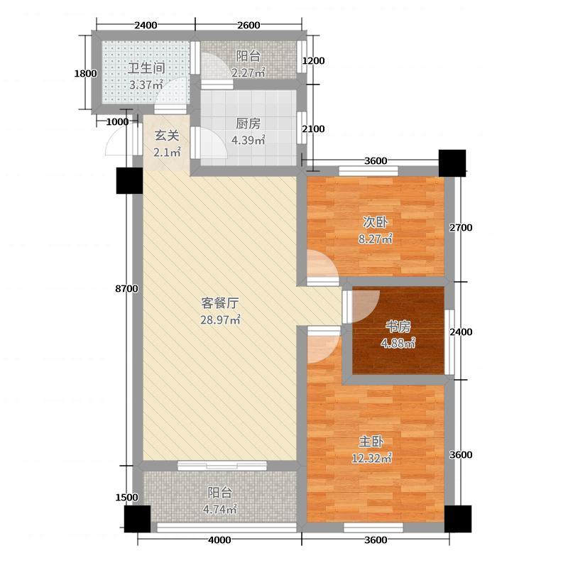 振华・时尚广场93.97㎡三居室户型3室3厅1卫1厨