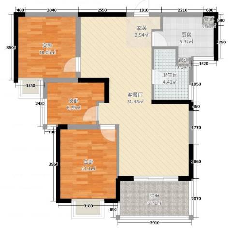 国奥天地3室2厅1卫1厨95.00㎡户型图