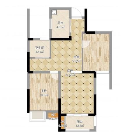 御景城1室1厅1卫1厨76.00㎡户型图