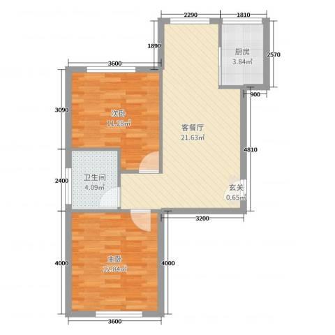 宗裕国际鑫城2室2厅1卫1厨74.00㎡户型图