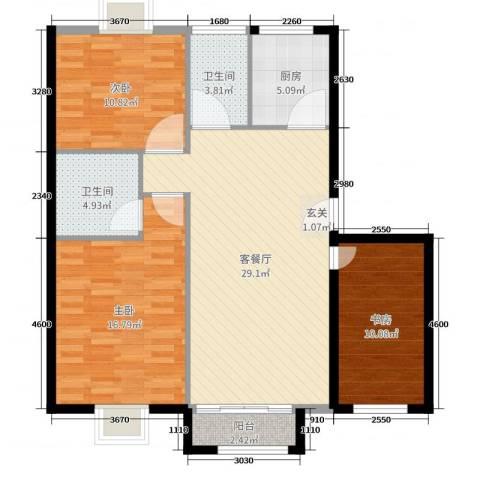 奇祥苑3室2厅2卫1厨104.00㎡户型图