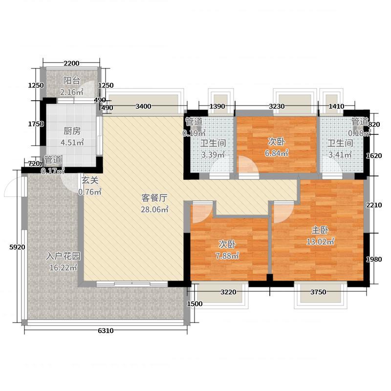 保利林语108.00㎡03户型3室3厅1卫1厨