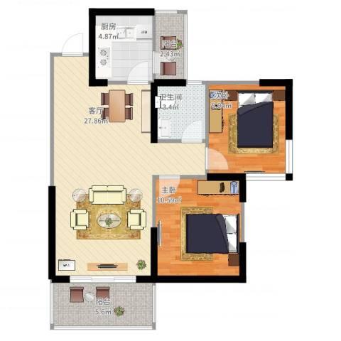 香榭国际2室1厅1卫1厨89.00㎡户型图