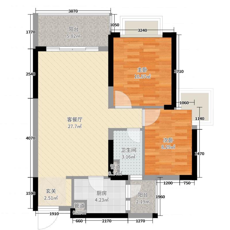 绿湖国际城78.00㎡5、9、11座05户型2室2厅1卫1厨
