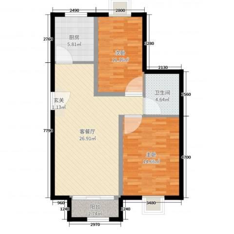奇祥苑2室2厅1卫1厨82.00㎡户型图