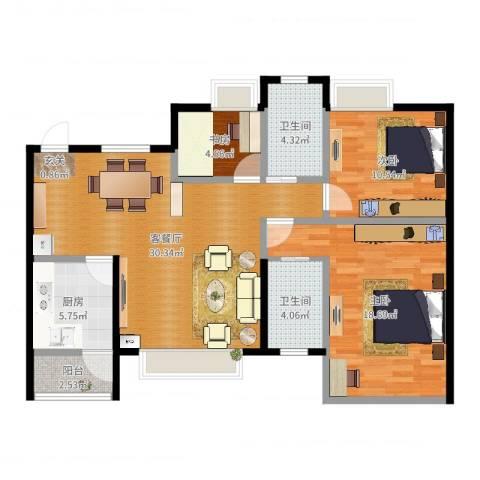 世隆华都3室2厅2卫1厨109.00㎡户型图