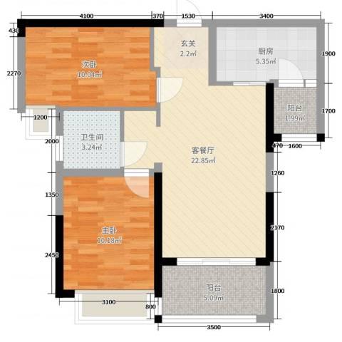港湾江城2室2厅1卫1厨85.00㎡户型图