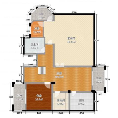 武汉长岛2室2厅1卫1厨180.00㎡户型图