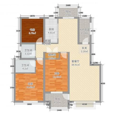 国信上城3室2厅2卫1厨126.00㎡户型图