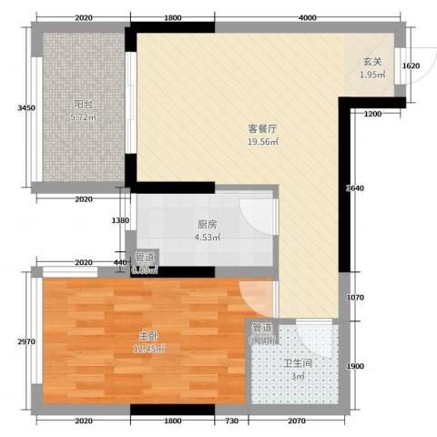 国奥天地1室2厅1卫1厨57.00㎡户型图