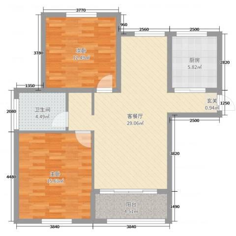东城佳园2室2厅1卫1厨90.00㎡户型图