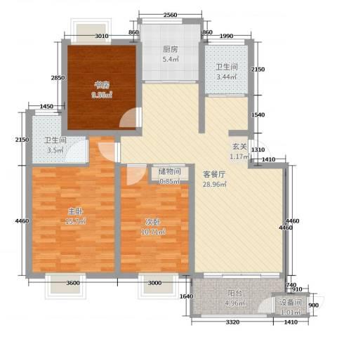 东城佳园3室2厅2卫1厨105.00㎡户型图