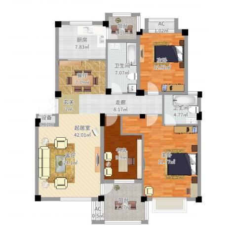滨河阳光3室1厅3卫2厨148.00㎡户型图