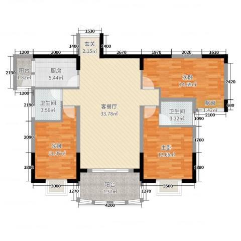 芳邻雅居3室2厅2卫1厨123.00㎡户型图