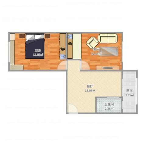 新佳园东里1室2厅1卫1厨56.00㎡户型图