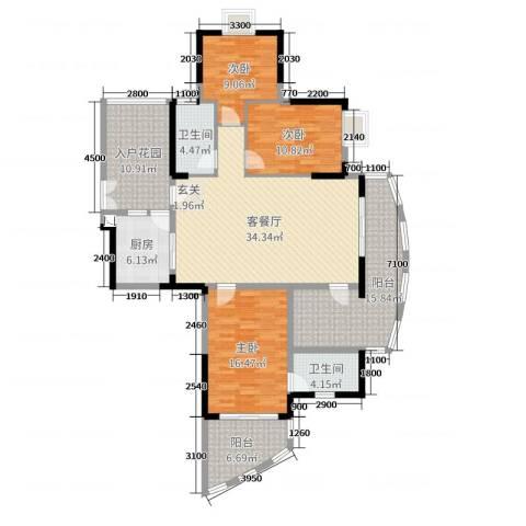 芳邻雅居3室2厅2卫1厨144.00㎡户型图